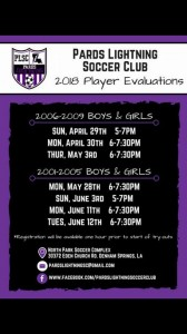 2018 Pards Lightning Soccer Club Player Evaluations